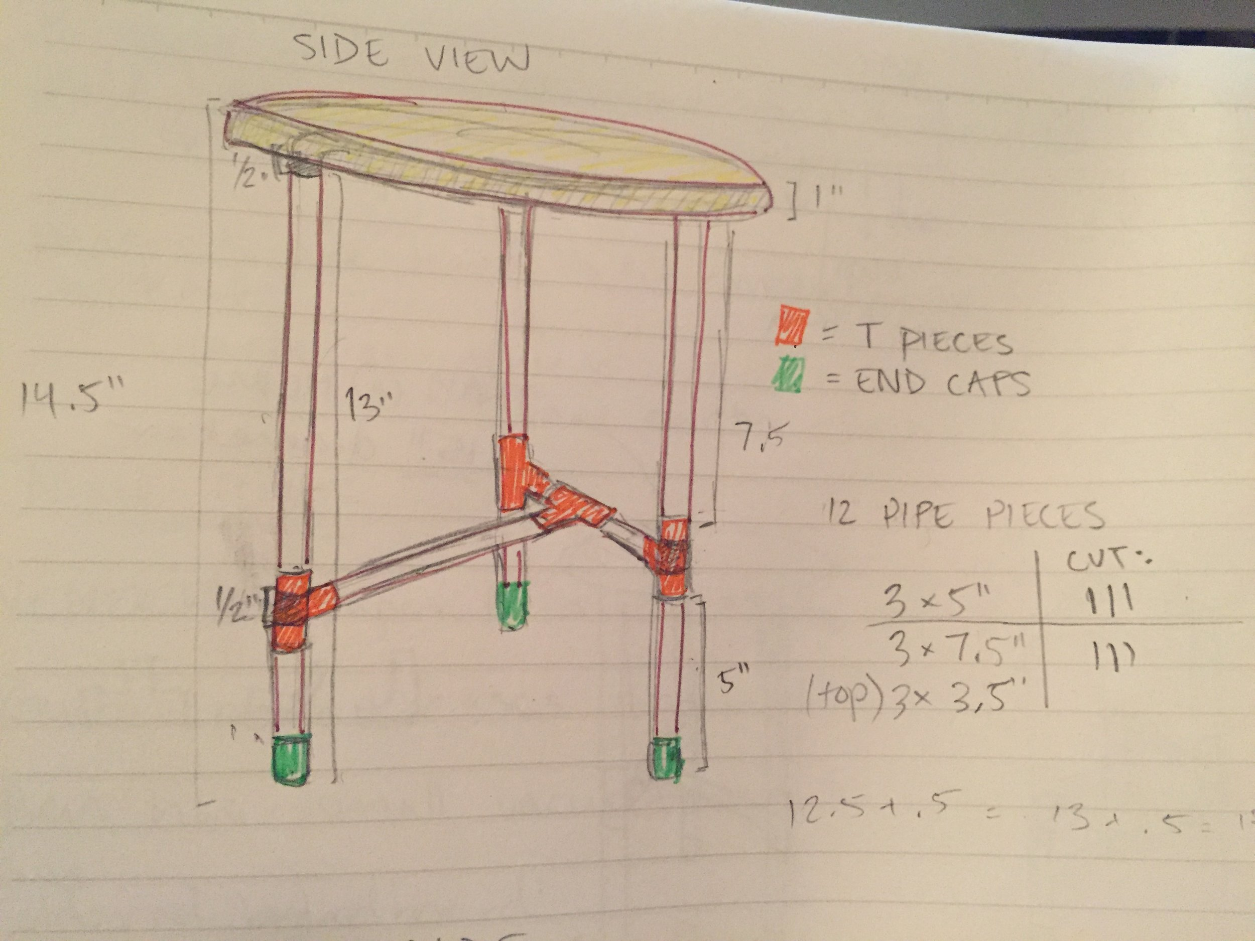 Revisited my original sketch to visually see the measurements and keep track of how many pieces I had cut.