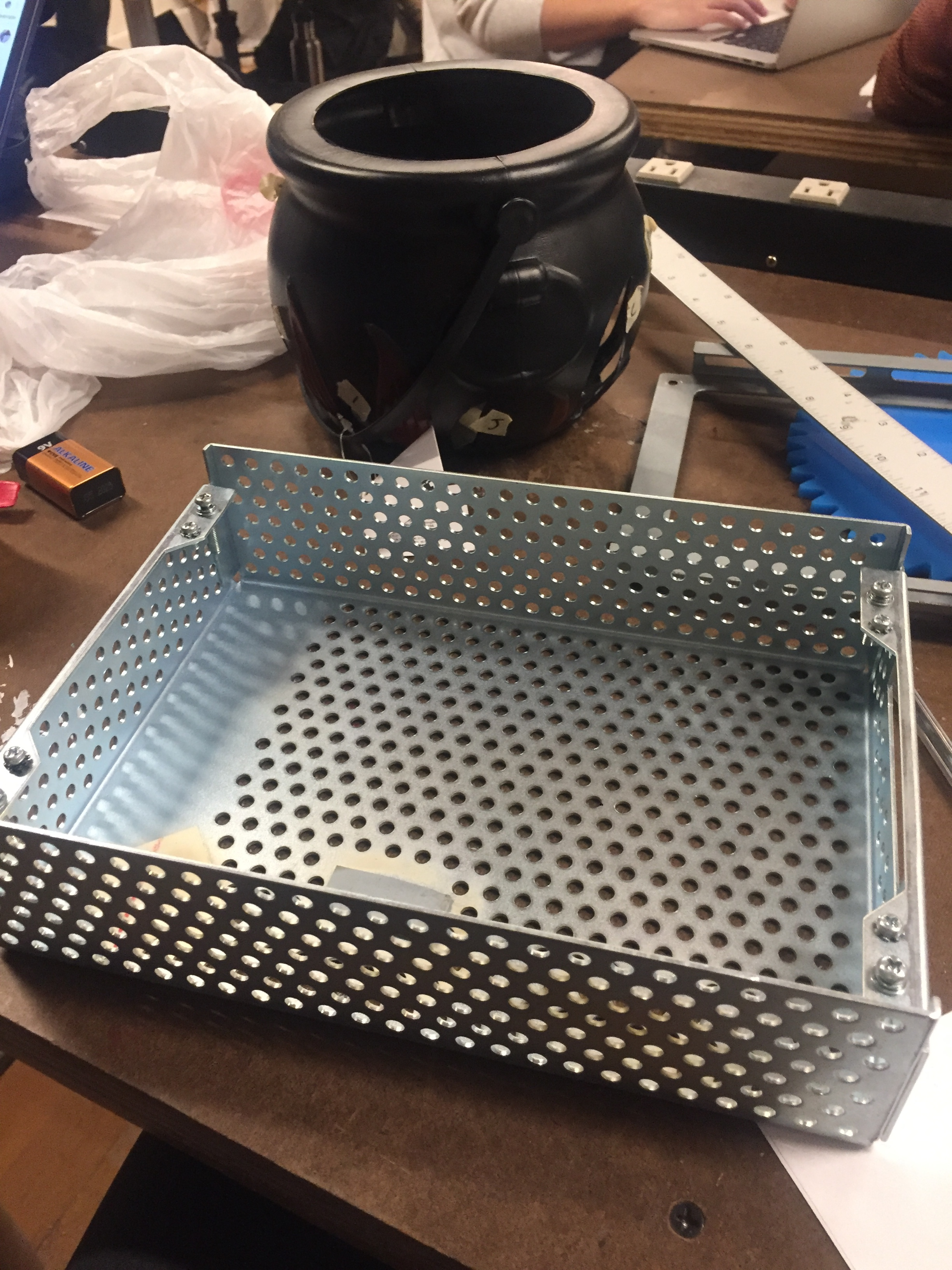 Found metal box to be used as the base of the cauldron and to enclosure the Arduino and battery.