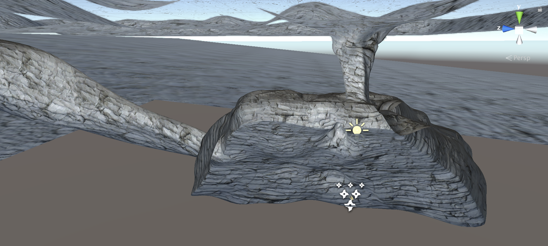 Overall shot of the world. A tunnel from the top is where players initially fall into, the cave below is the main environment to be explored to find objects. Another tunnel leads outward for the final escape to the surface.