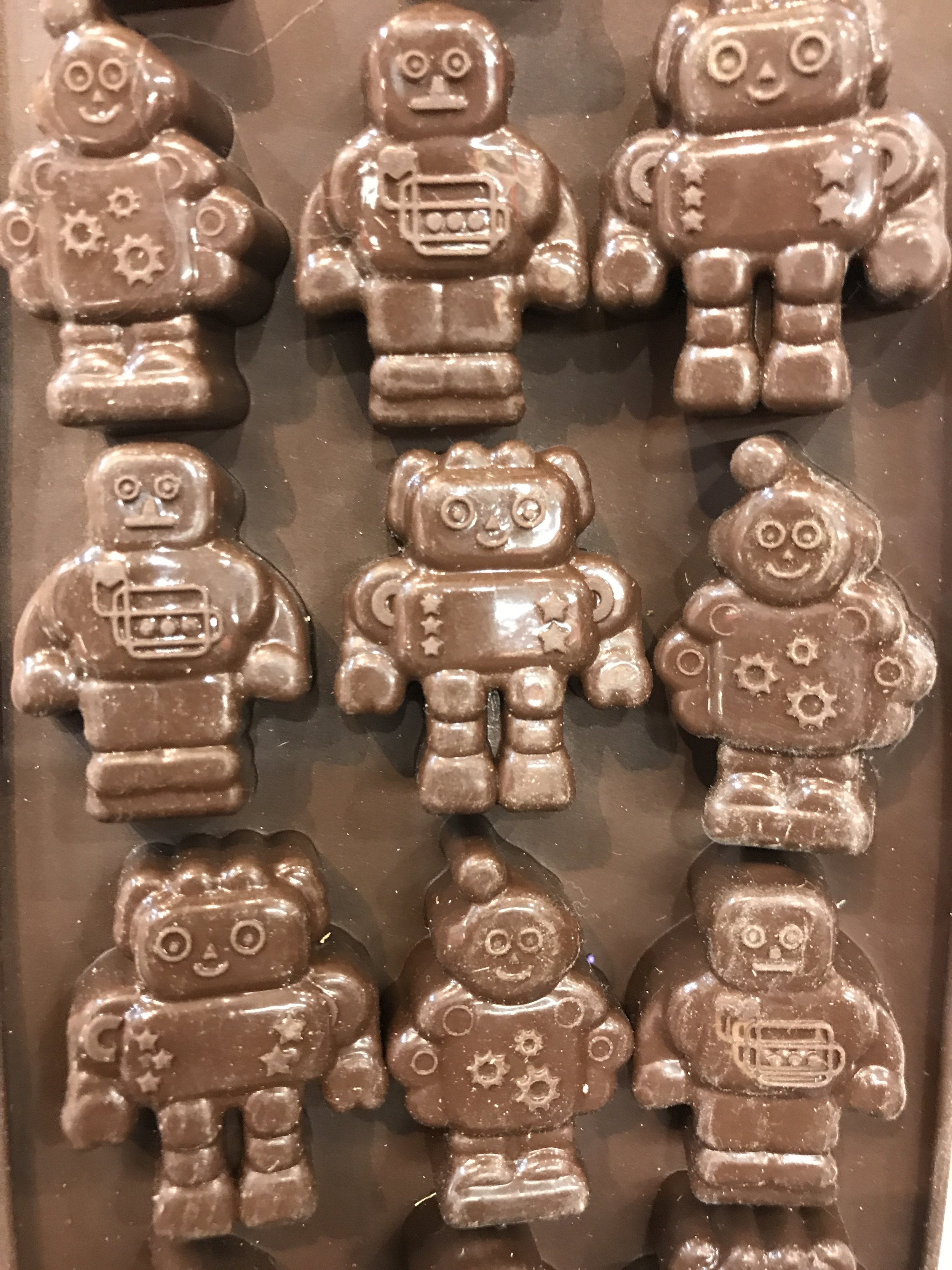 CHOCOLATE MOLDS: Literally soft robots! It is a silky textured plastic I think, kind of like a silicone. It retains shape, but has a floppy quality.