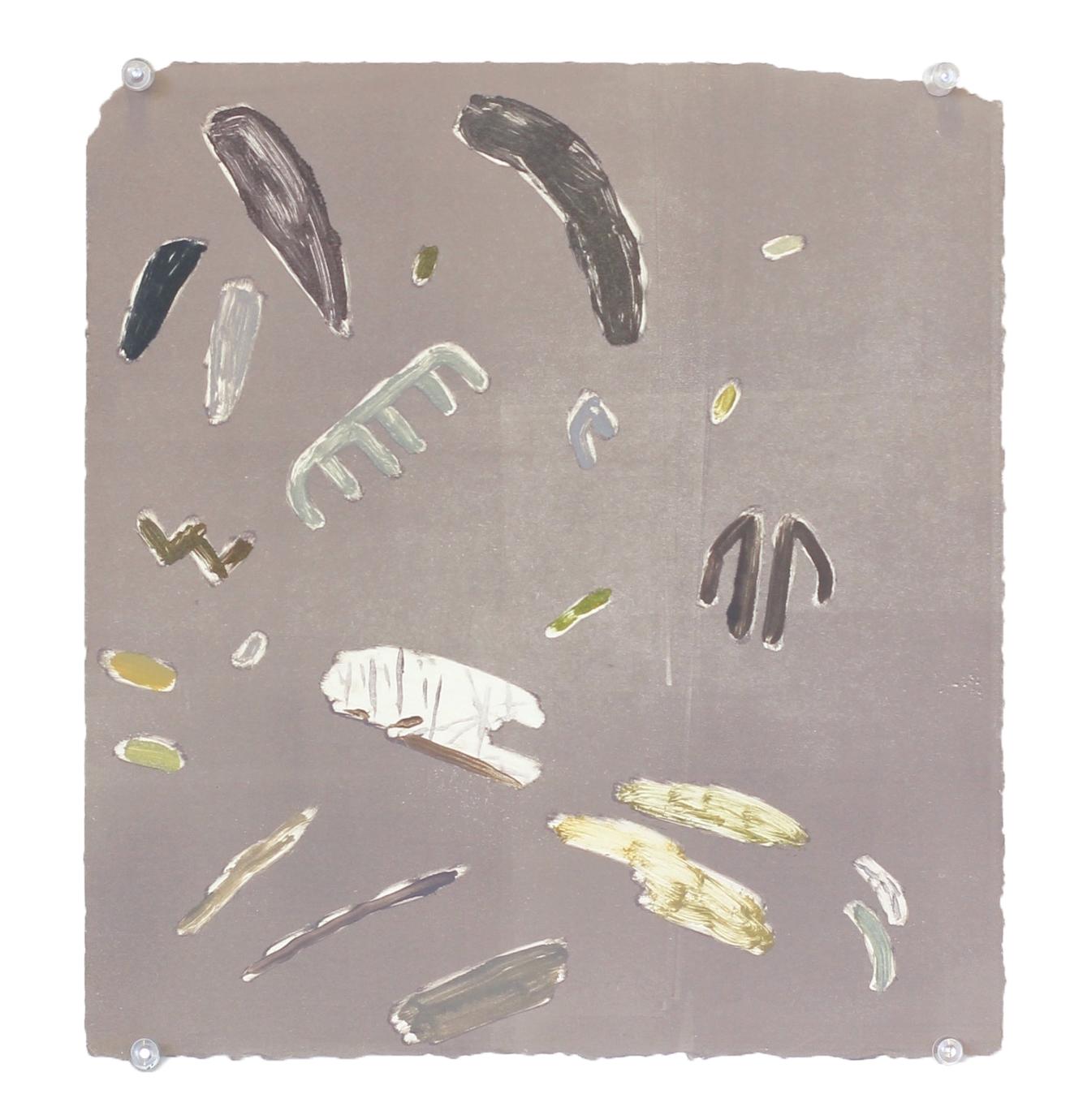 "soft fossils , monoprint, 12"" x 14"", 2014"