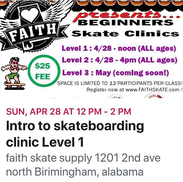 This Sunday we are hosting 2 more Skate Clinics... Level 1 starts at noon and Level 2 at 4pm—- Sign Up now at www.faithskate.com $25 registration All Ages No equipment necessary  Pizza And Waters included #faithskatesupply