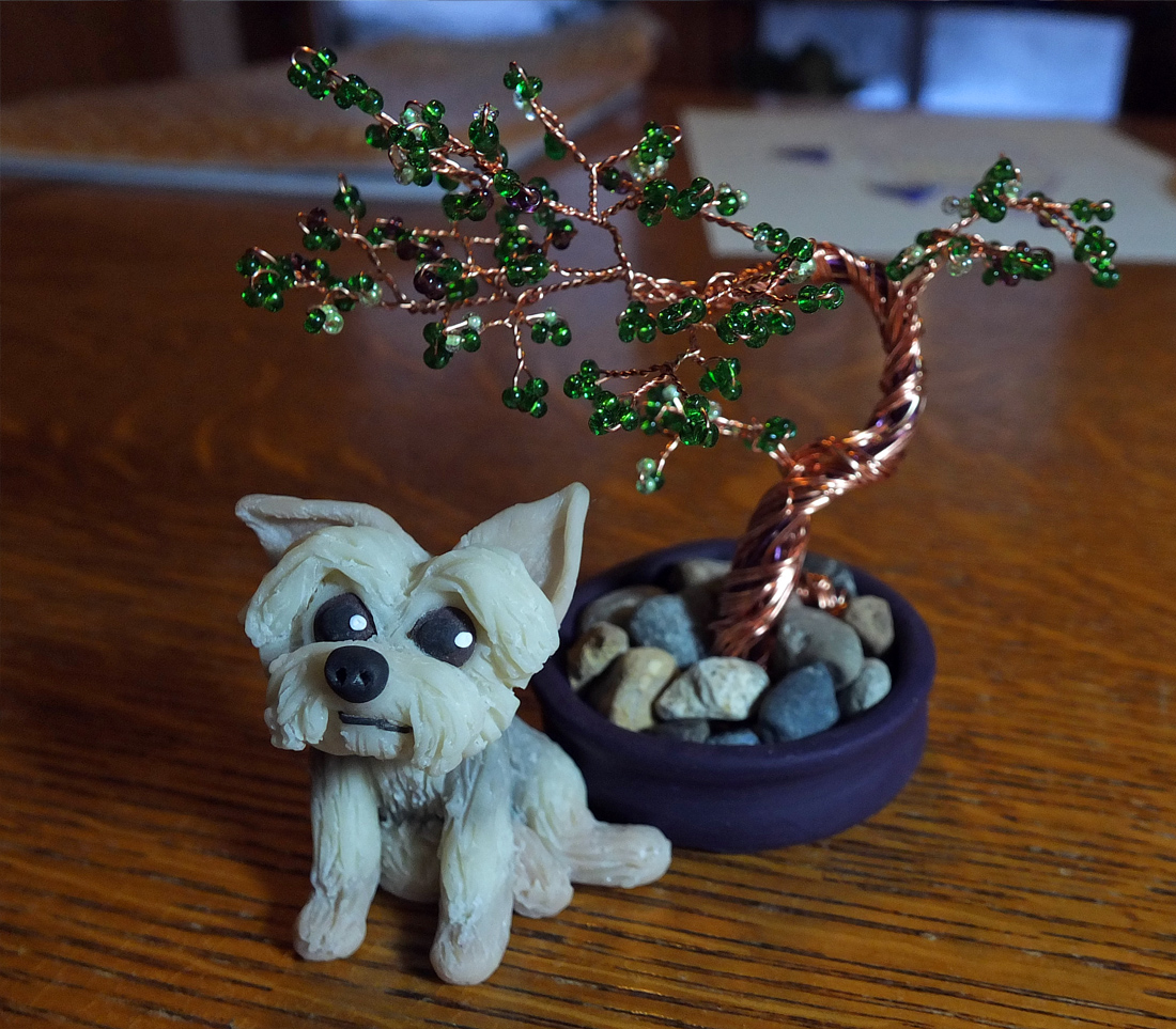 Bonsai dog and tree polymer clay wire rock.jpg