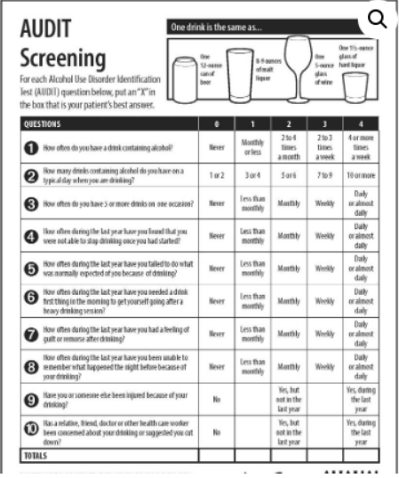 Assess an alcohol use disorder - Save and print The Audit Alcohol Use Disorder Screening Tool.