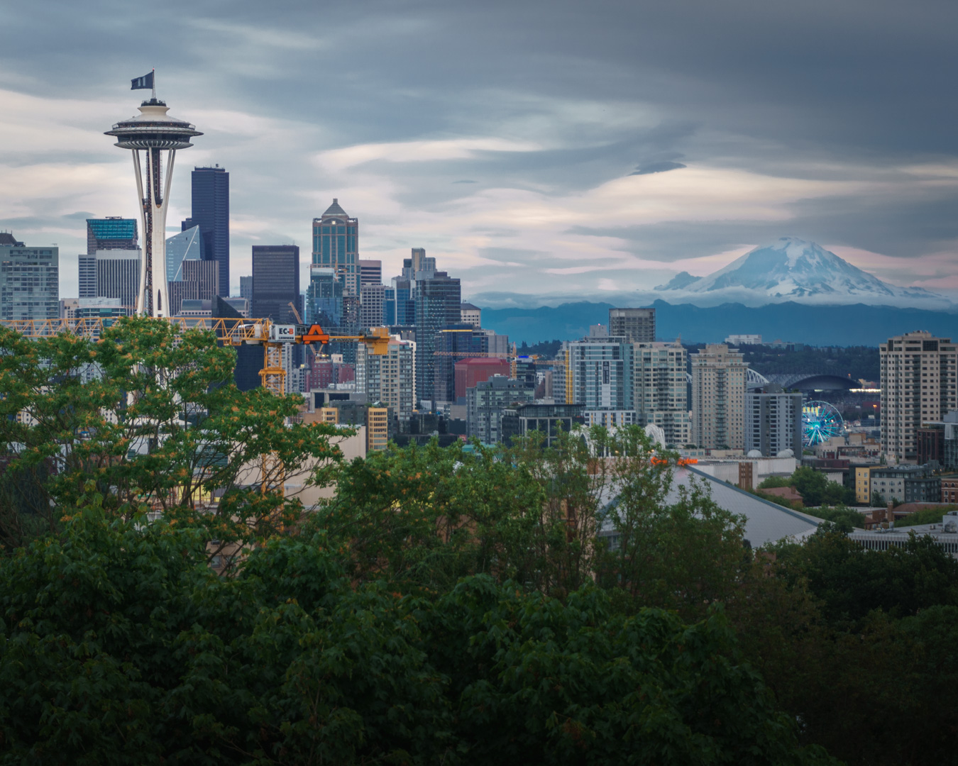 Mt. Rainier decided to come out for this one. Beautiful views from Kerry Park in Seattle, WA.