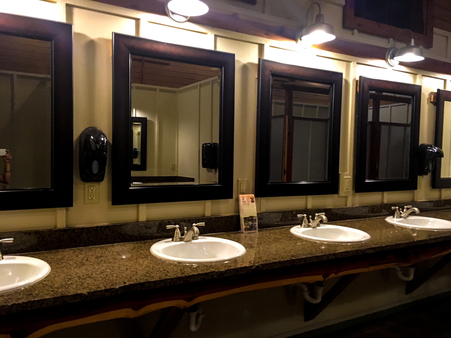 An example of a nicer bathroom at a campground. This is a bathroom at Jellystone Park resort.