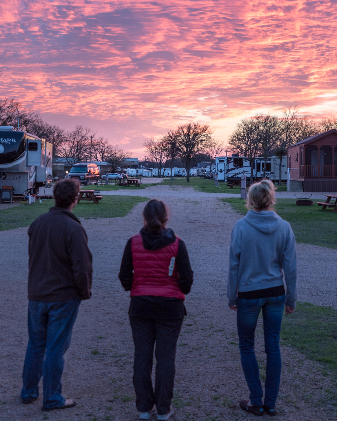 A beautiful sunset at this year's RVE Summit in Fredericksburg, TX with our friends Dan, Camille, and Lindsay.