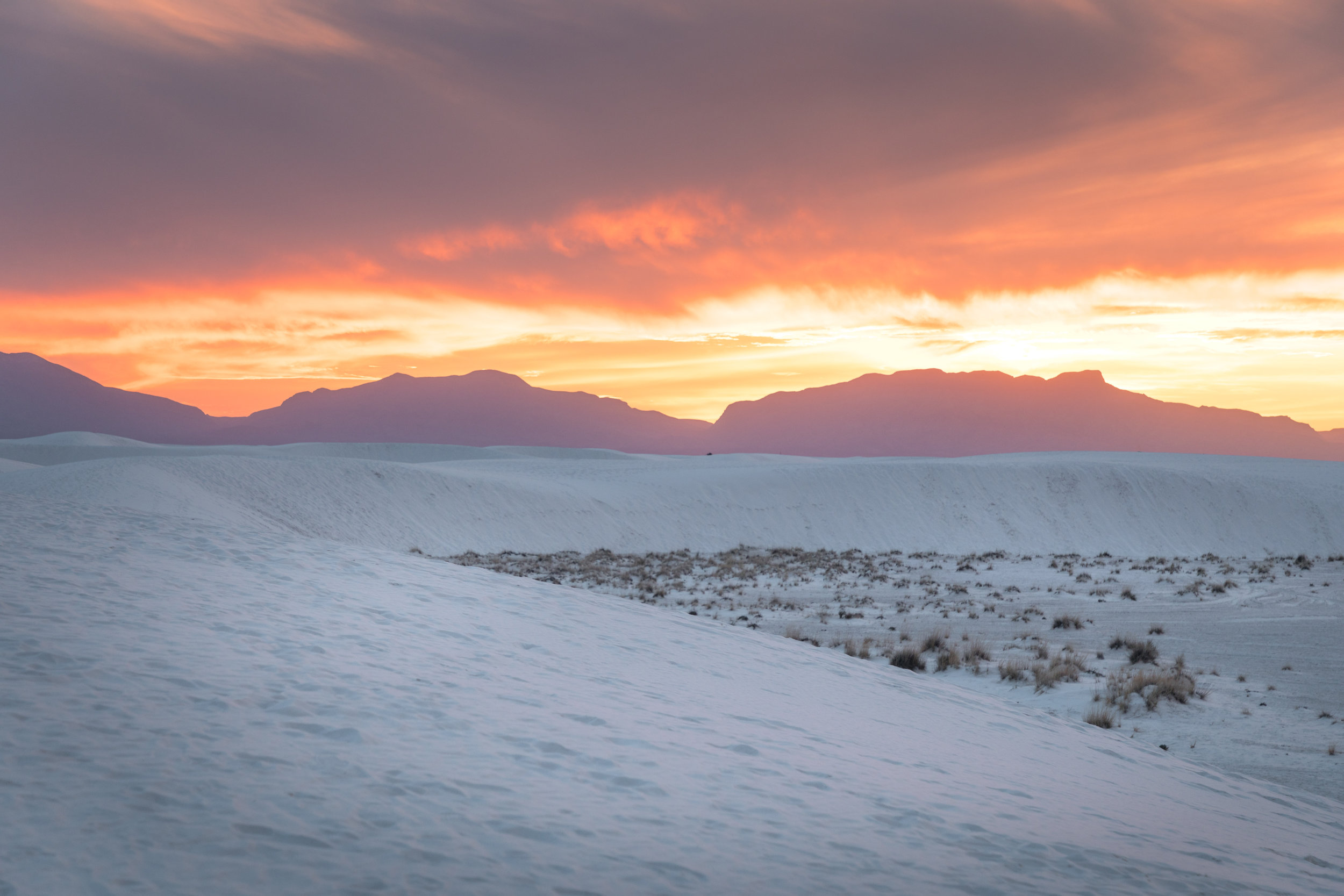 A spectacular sunset at White Sands National Monument. This picture doesn't do it justice!