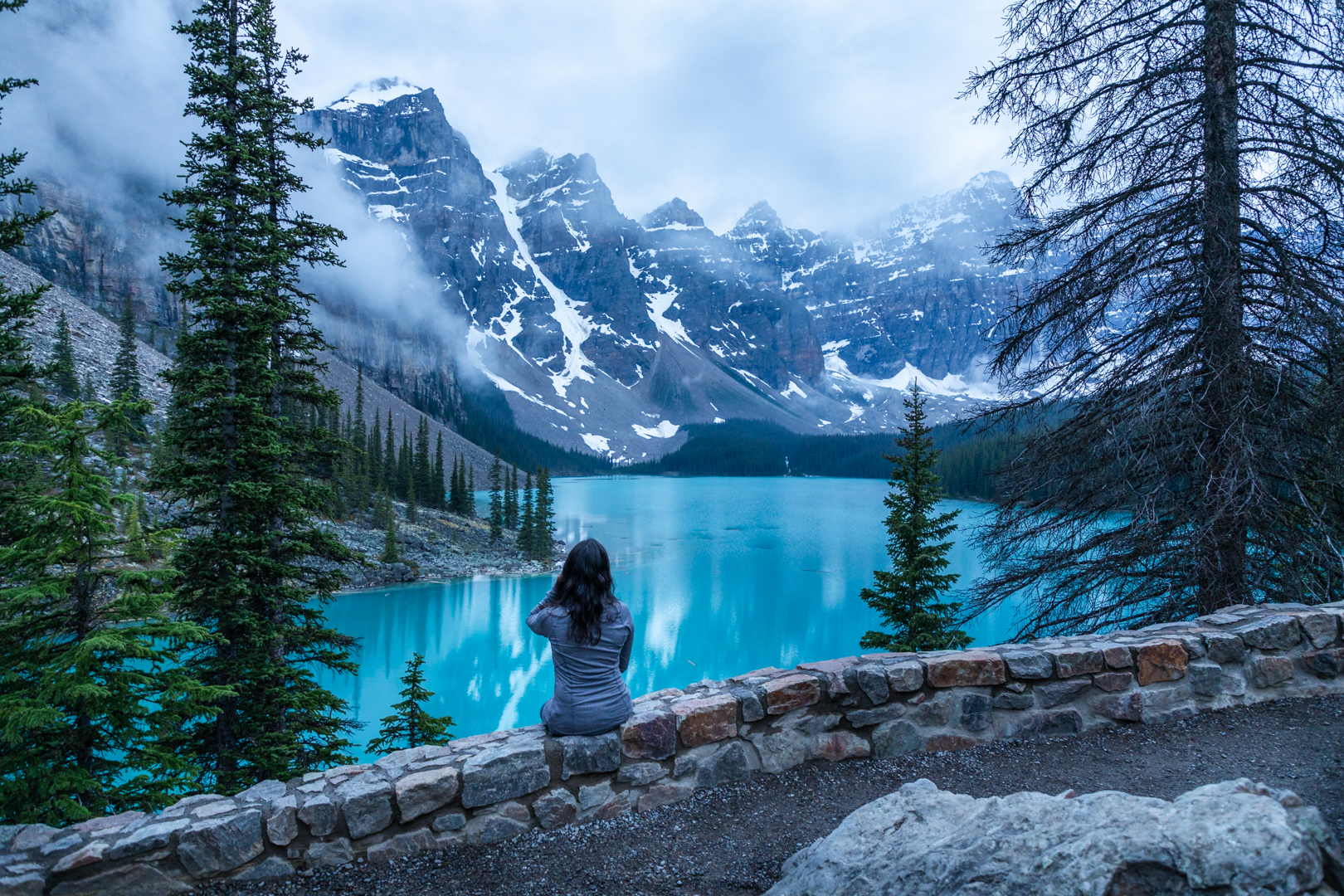 We had Moraine Lake all to ourselves at sunset.