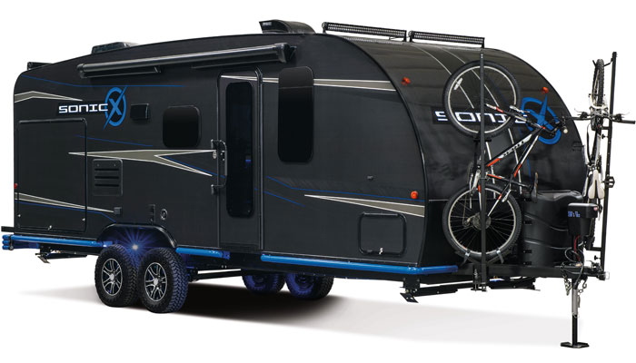 The Carbon Fiber wrapped, self-sustainable, ingenious Sonic X Travel Trailer Concept. (Credit: K-Z RV)
