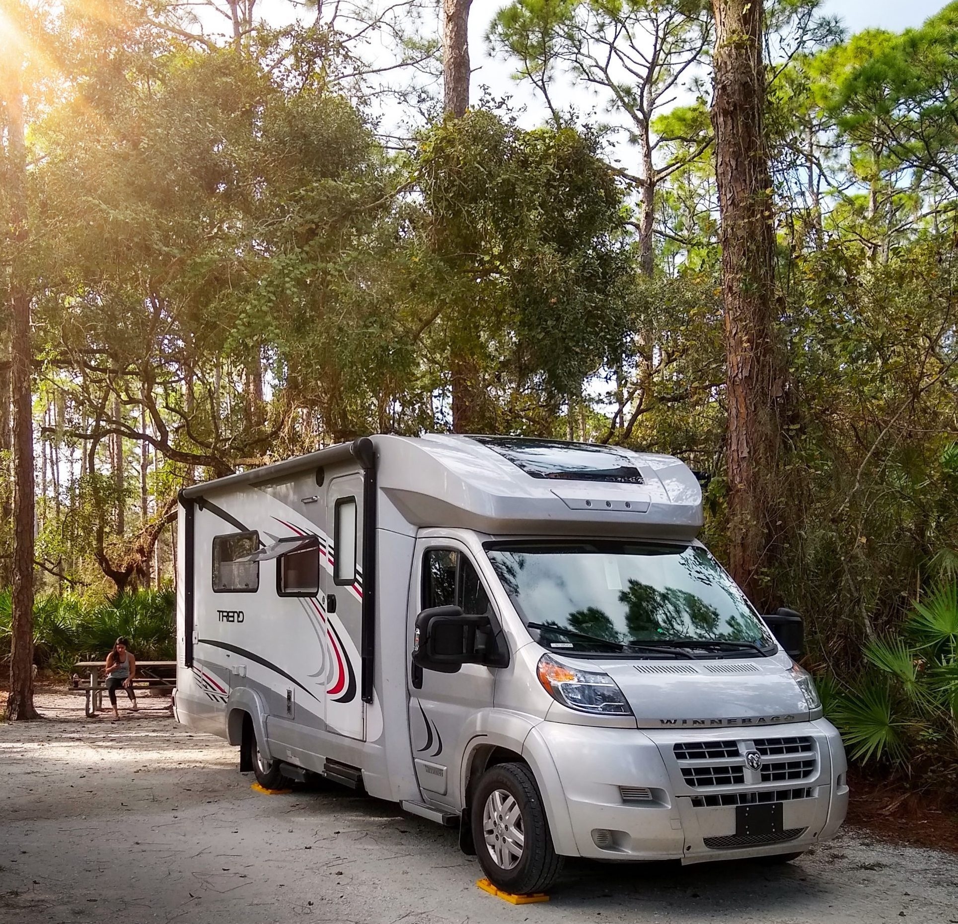 At 24 feet in length, our little Class C fits almost anywhere. This is at one of our favorite campgrounds in Florida.
