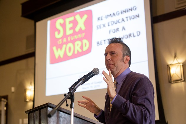 local news coverage of a keynote for University of Guelph