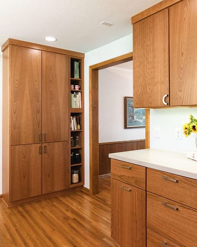 "Another from the ""grown mid century"" project...Tall pantry cabinets are one of the most underrated essentials in a kitchen. This one includes a plug in the back to keep all those countertop appliances stashed away neat and tidy! For this family that's a rice cooker! What's one appliance you'd love to get off your counter? 👉🏻 answer in our story! . 📷: @halfacrehouse"