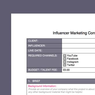 influencer marketing free brief