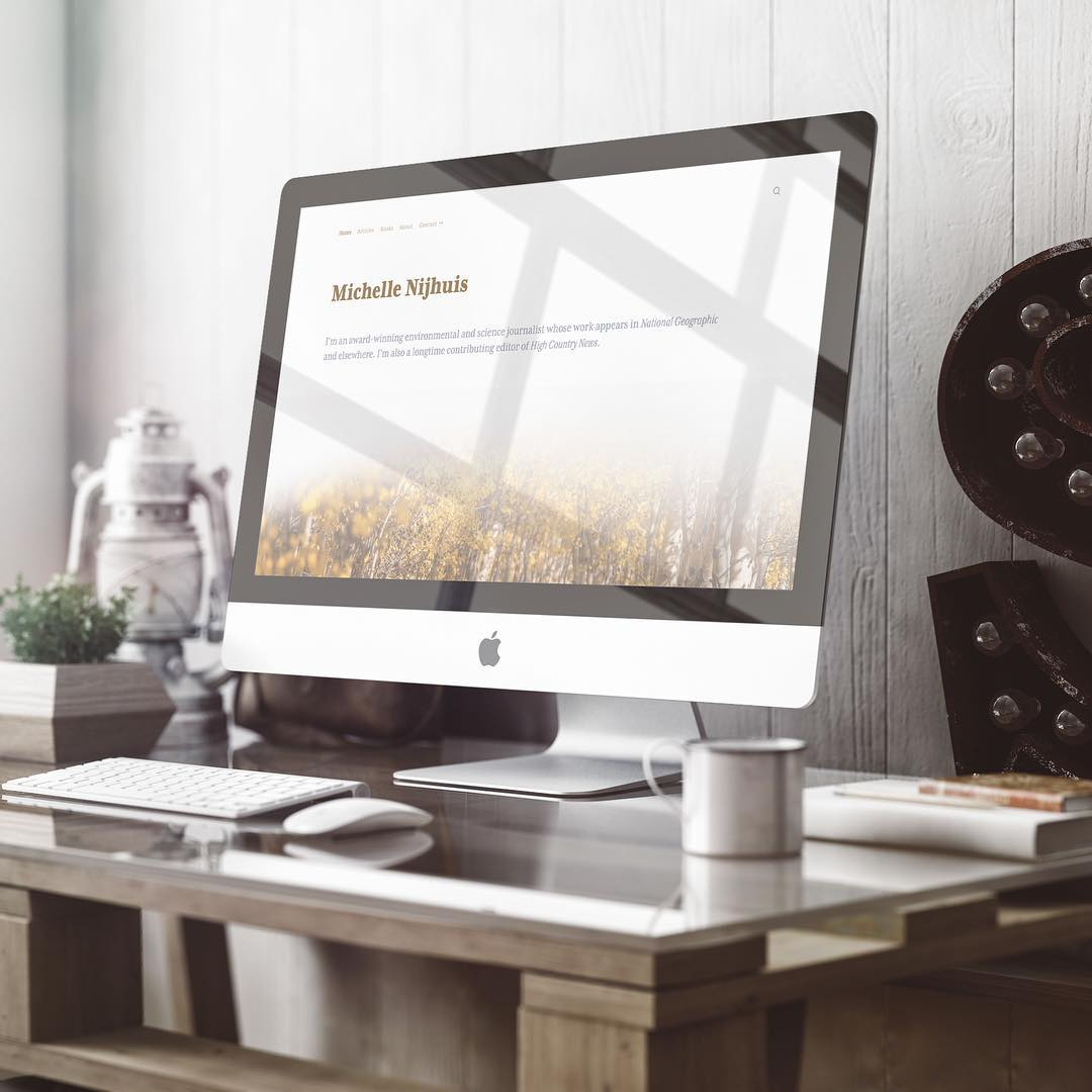 My custom web design client  Michelle Nijhuis  is a very established writer. We created a branded feel making her point of view very clear while also providing a solid infrastructure to catalog her work on an ongoing basis.
