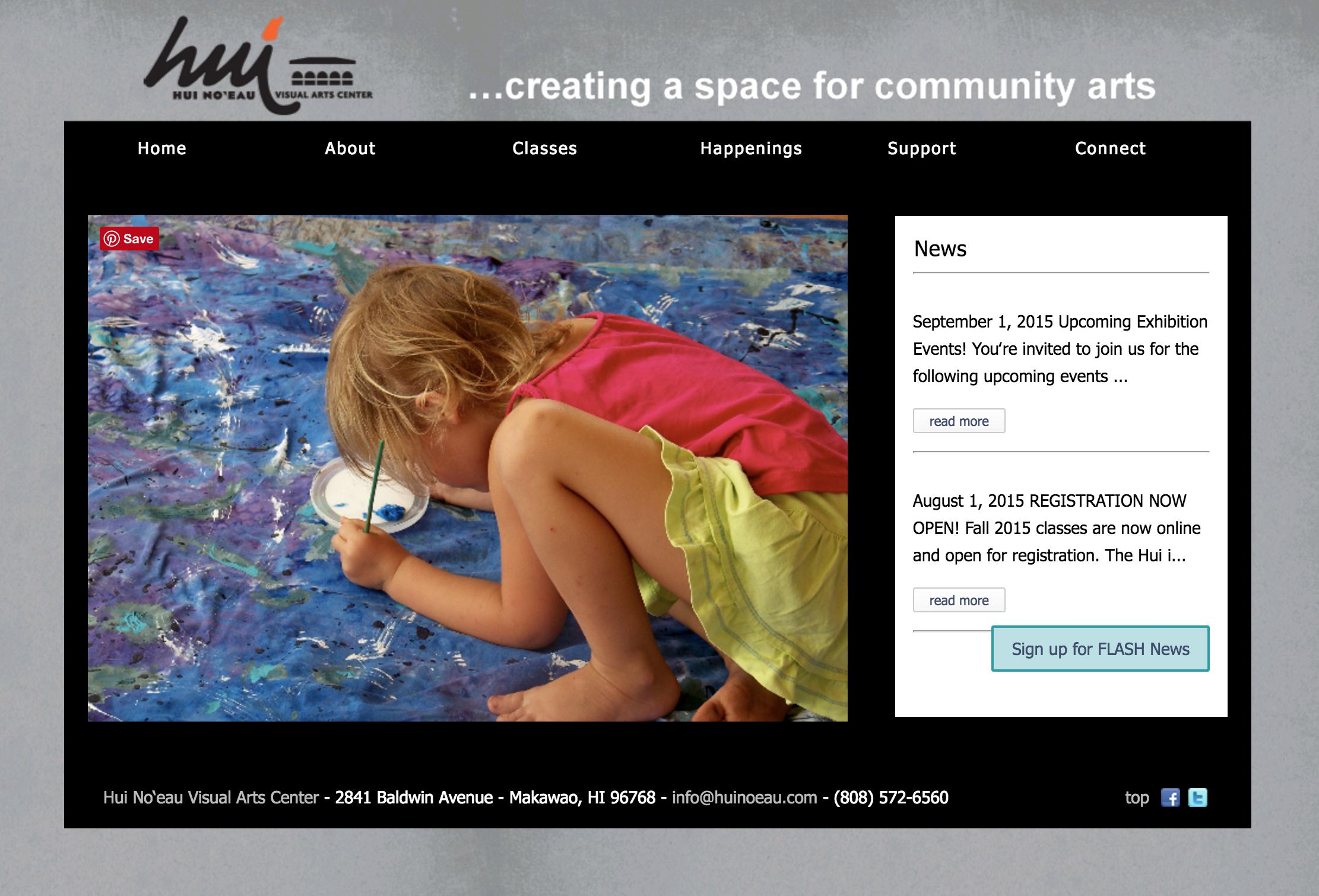 The Hui website: Before