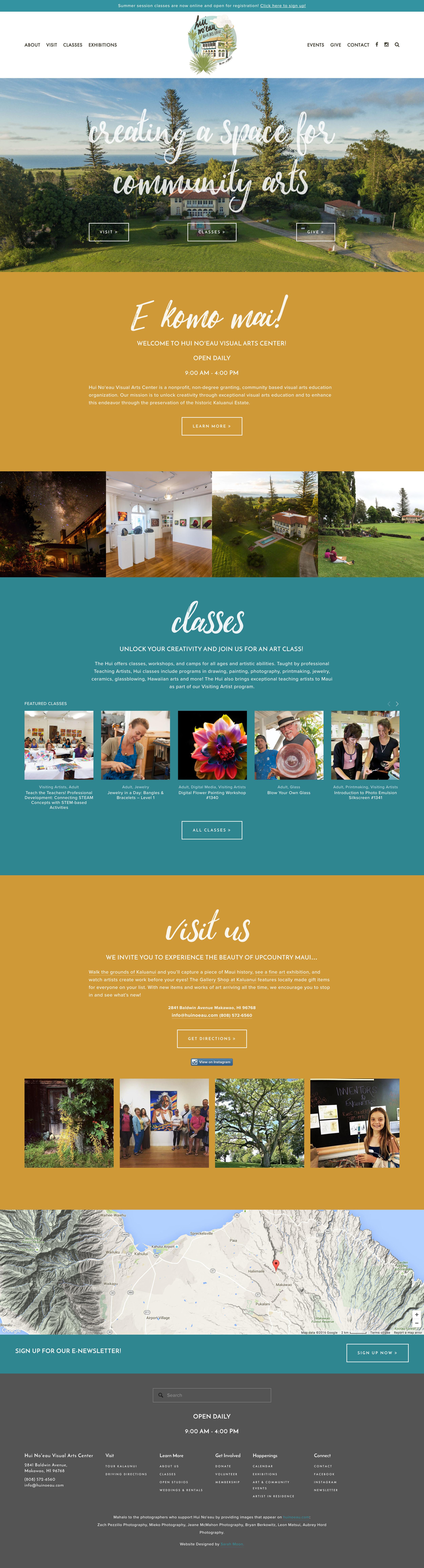 Final homepage for Hui No'eau Visual Arts Center | Design by Sarah Moon, sarahmoon.net