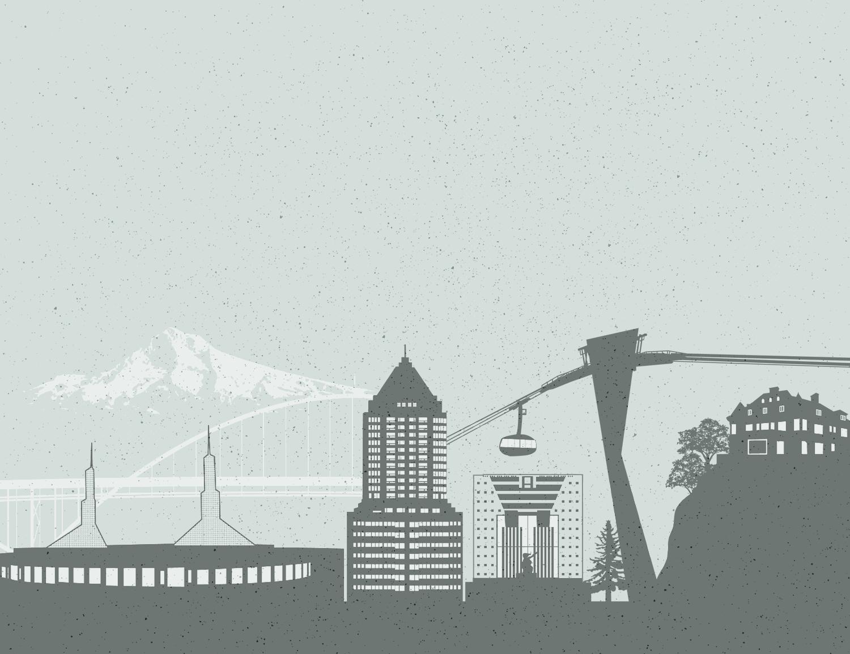 Portland Skyline Illustration for rosslawpdx.com - created by Sarah Moon, sarahmoon.net