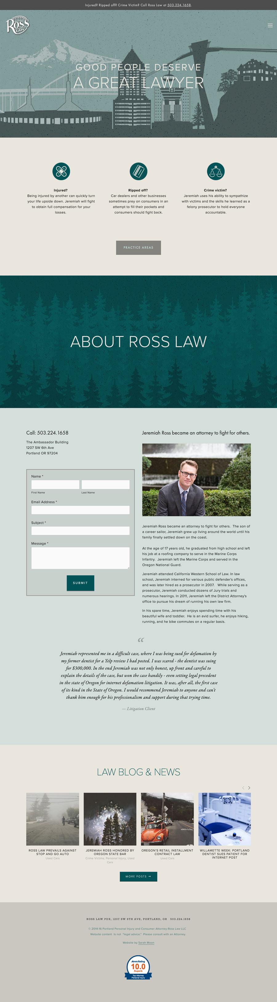 Website design for Portland attorney Jeremiah Ross, rosslawpdx.com; Design by Sarah Moon - sarahmoon.net