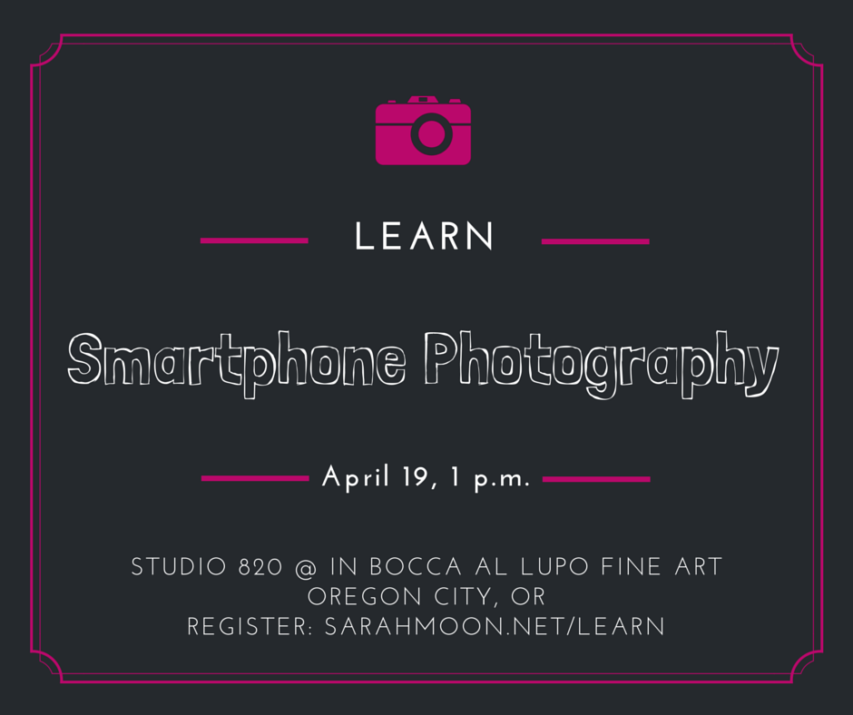 smartphone photography at studio 820 @ in bocca al lupo fine art | sarahmoon.net/learn