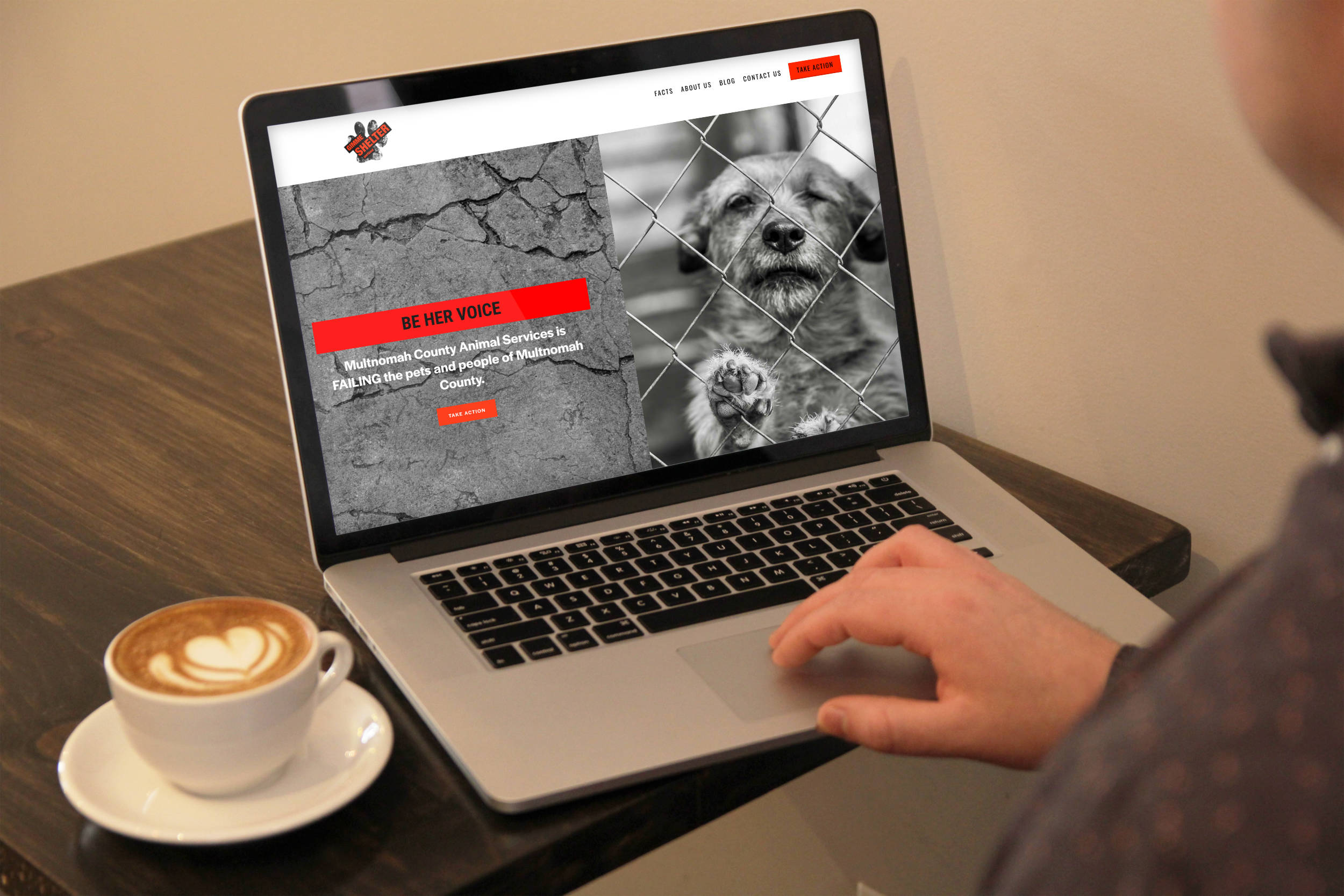 Gimme Shelter - This Design in a Day™ project is a nimble website for a campaign to improve conditions for shelter animals. The homepage tells the story, while the other pages funnel visits to take action. The blog is an ongoing educational and resource project ensuring the site is a living entity.