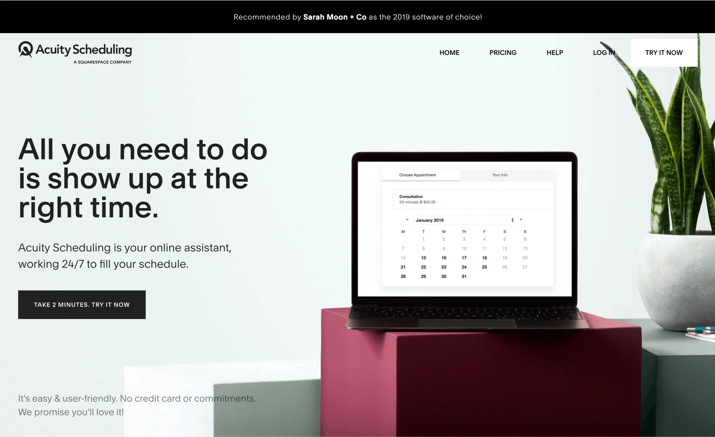 Acuity's new homepage, now more Squarespace-y!