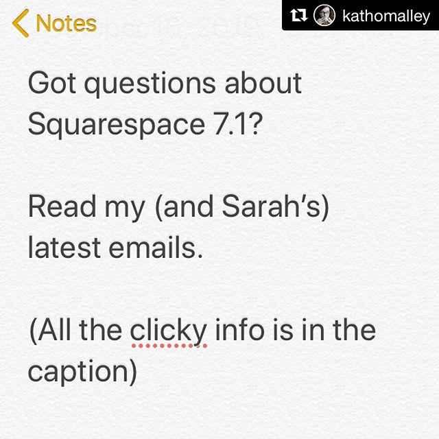 I have a lot of opinions about Squarespace 7.1—mostly that it's half-baked and not ready for prime time. If you're a newsletter subscriber, you've probably heard about this already. @kathomalley is going live on Facebook tomorrow to show folks in real time the workflow for this new system. She's got a different perspective than me, bridging the gap between designers and clients/DIYers, so this will be invaluable stuff! #Repost @kathomalley ・・・ So.... Squarespace 7.1? . I just sent out my latest email on this very topic (where I share @sarahmoonco email on this very topic!) . Tap link in bio @kathomalley the scroll down and tap the past Squarespace tips and tricks newsletter button- it's the link at the top. . #squarespace #squarespacetips #squarespacedesigner #squarespace7.1