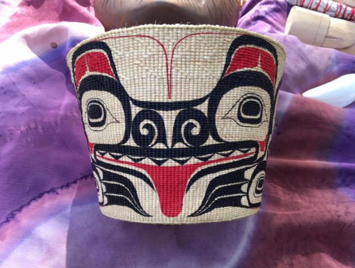 Bear Basket – Woven by Isabel Rorick, Haida Painted by Robin Rorick, Haida