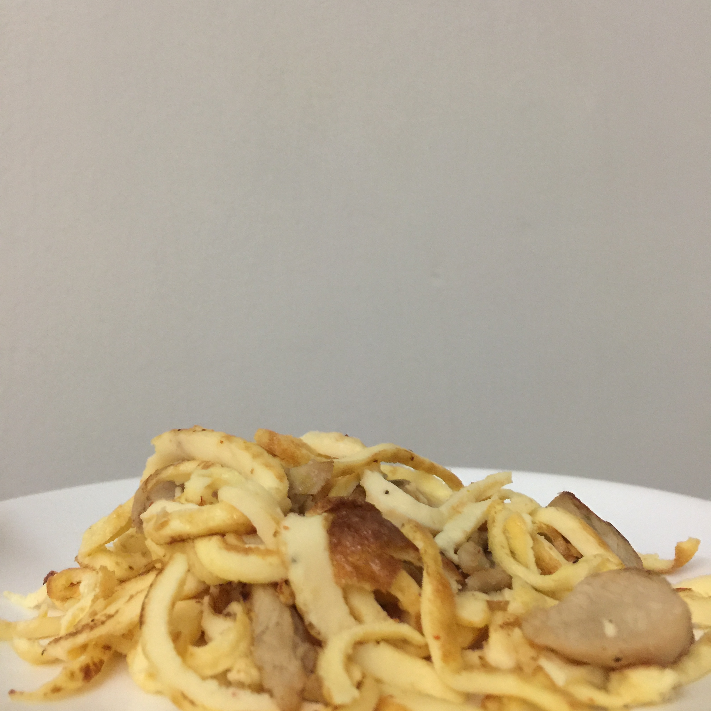 Fried egg noodles (noodles made with egg and cheese, ONLY!!)