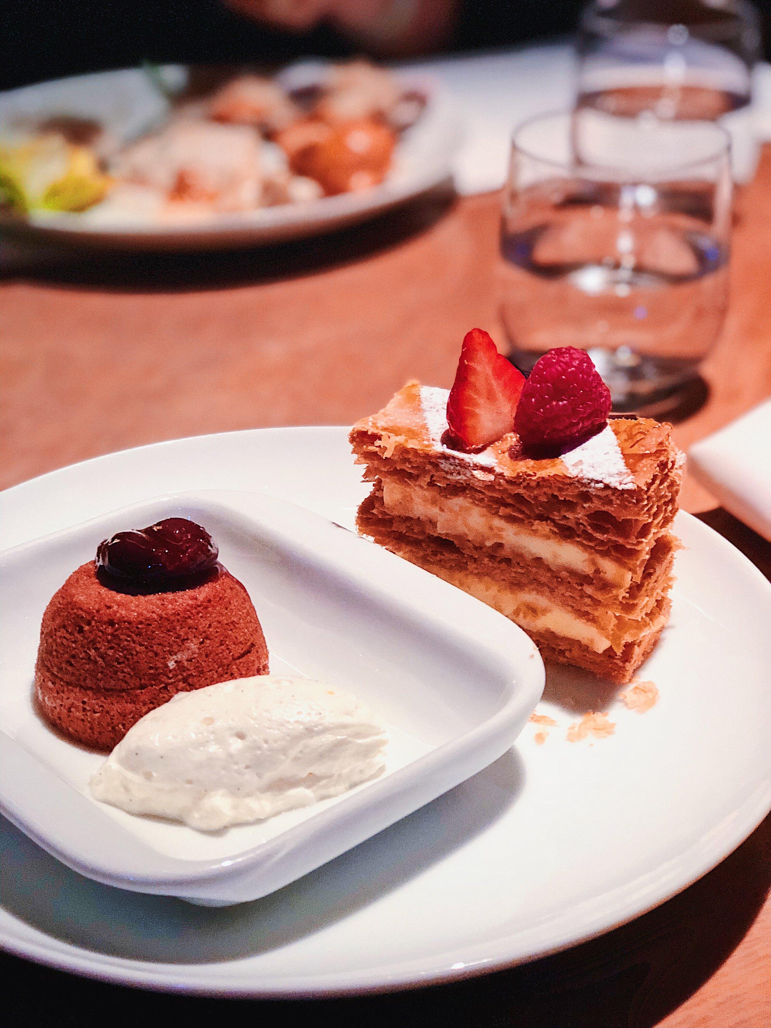 Dessert must-try: Chocolate lava cake and Napoleon cake. Napoleon pairs with thick custard!