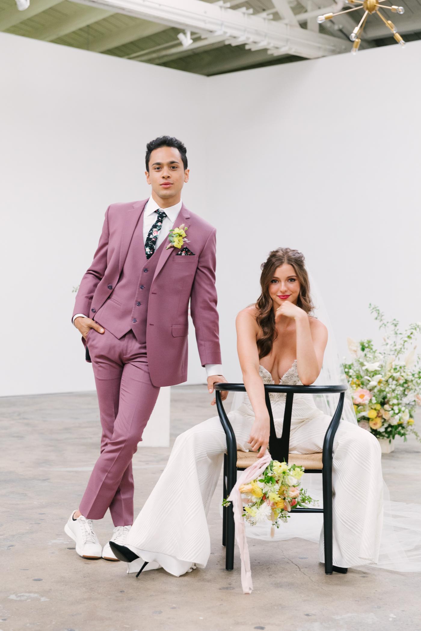 Colorful wedding couple