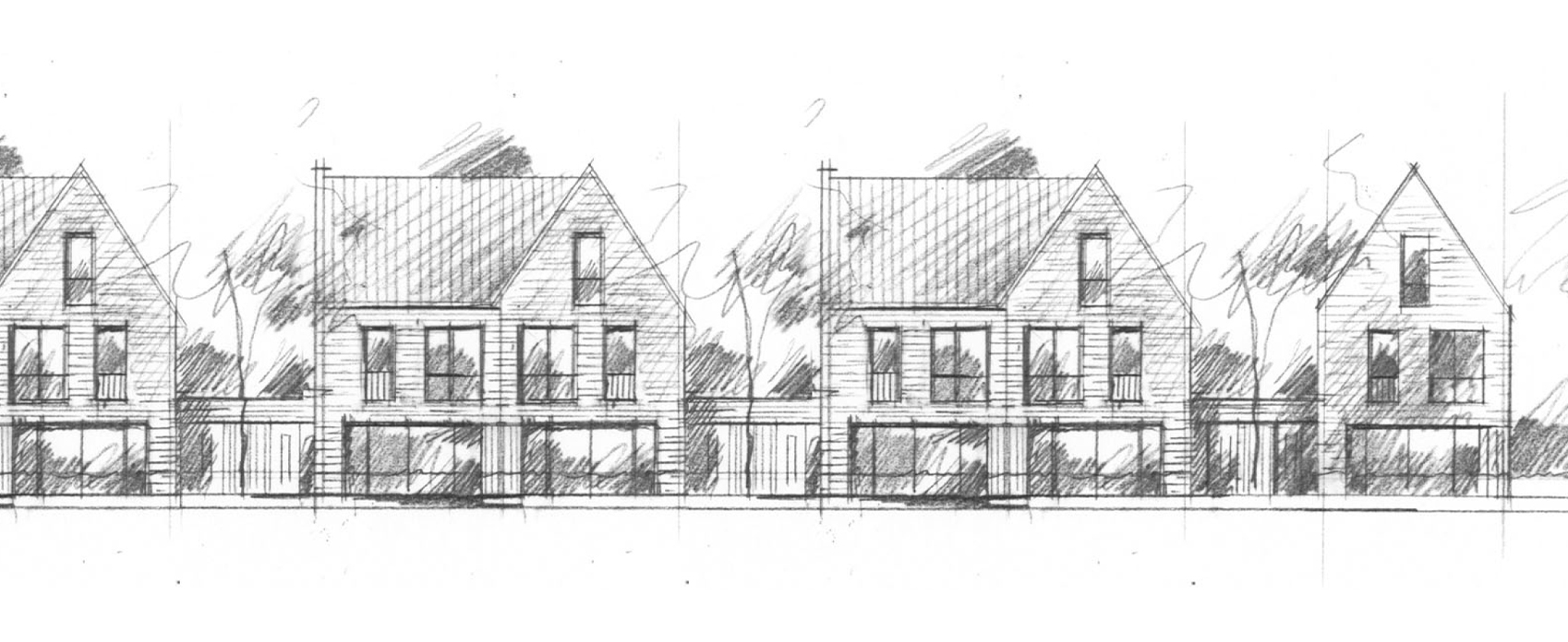 Geschakelde woningen - De woningen bestaan uit 2 verdiepingen en een zolder en hebben een oppervlakte van ca. 135 m2 GBO.De geschakelde woningen zijn tweekappers, maar dan zonder de garage aan de zijkant. Wel met een gelegenheid tot parkeren achter op eigen erf. De hoekwoning is een vrijstaand geschakelde woning. De Woningen zijn met hun entrees geschakeld aan het aangrenzende 2^1 kap blok