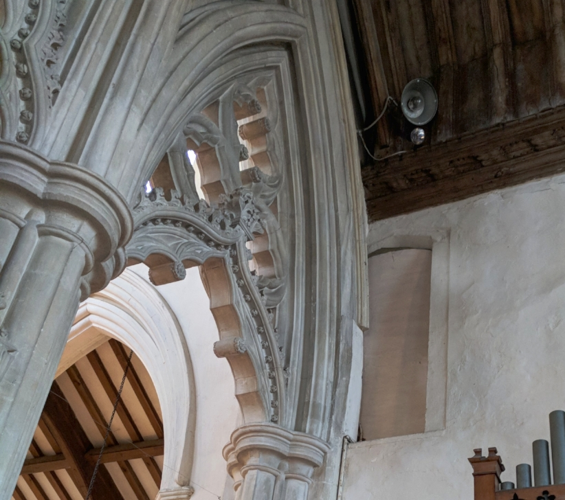 The doorway, now blocked, that granted access to the 15th Century wooden screen.