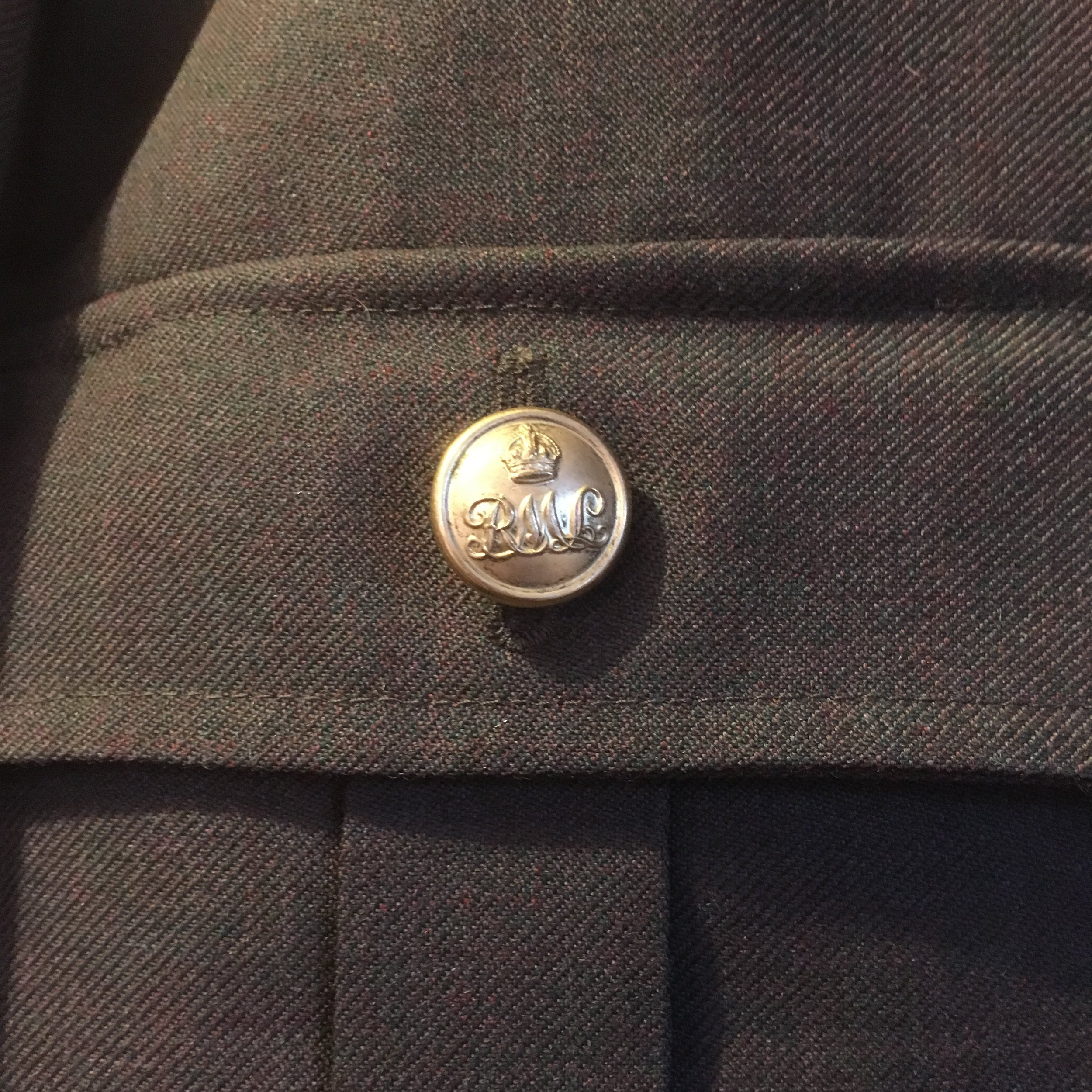 original buttons found for the Postal Rifles reconstruction costume.