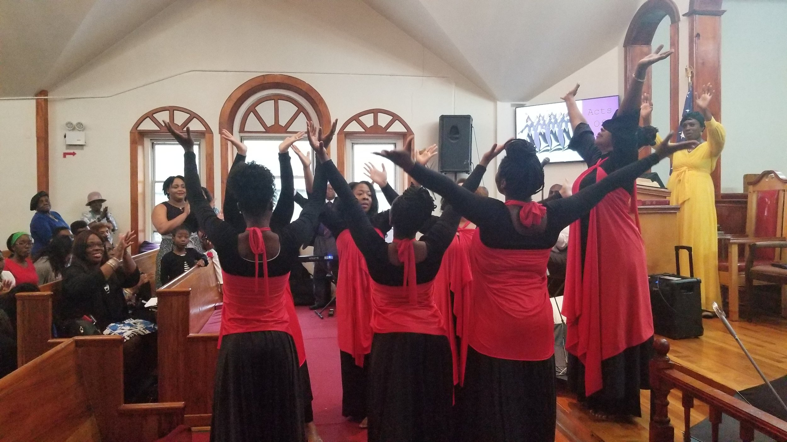LITURGICAL ARTS - Liturgical dance is a choreographed dance that is an expression of worship and is sometimes incorporated into the service. You do not need any training to join this ministry.