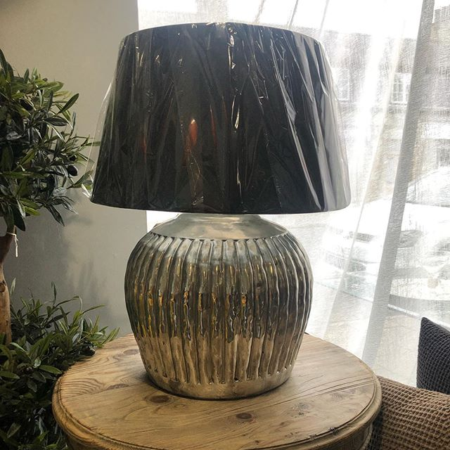 One of our lamps. Silver base with large black shade. The finishing touch to any room 👌