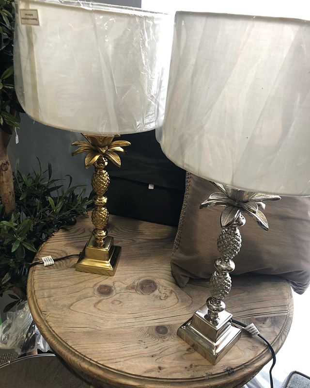 Silver and gold pineapple lamps with white shades. New in.