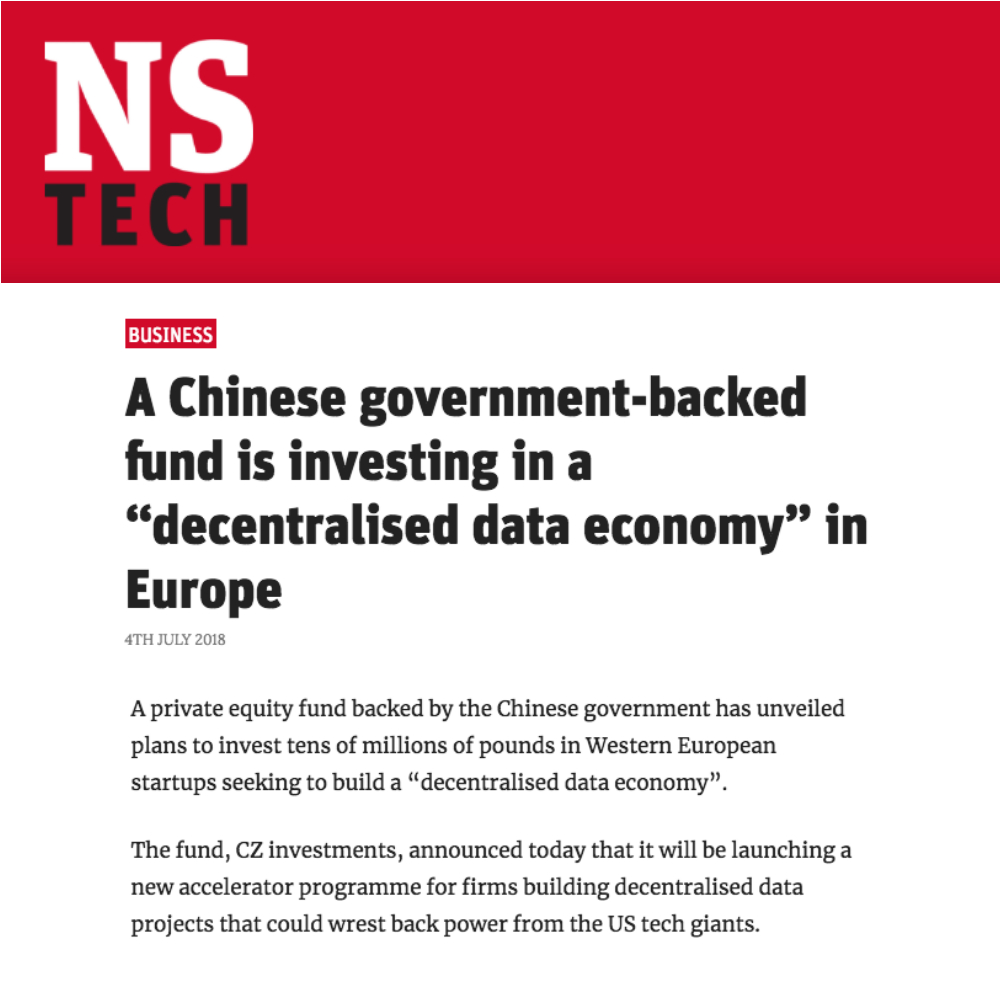 NS Tech reports on Chinese investment into HAT-enabled scale ups - 4 July 2018