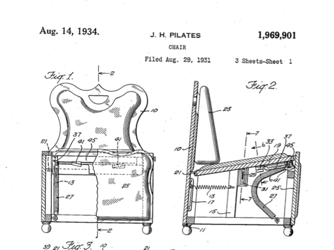 Pilates Chair Patent 1,969,901