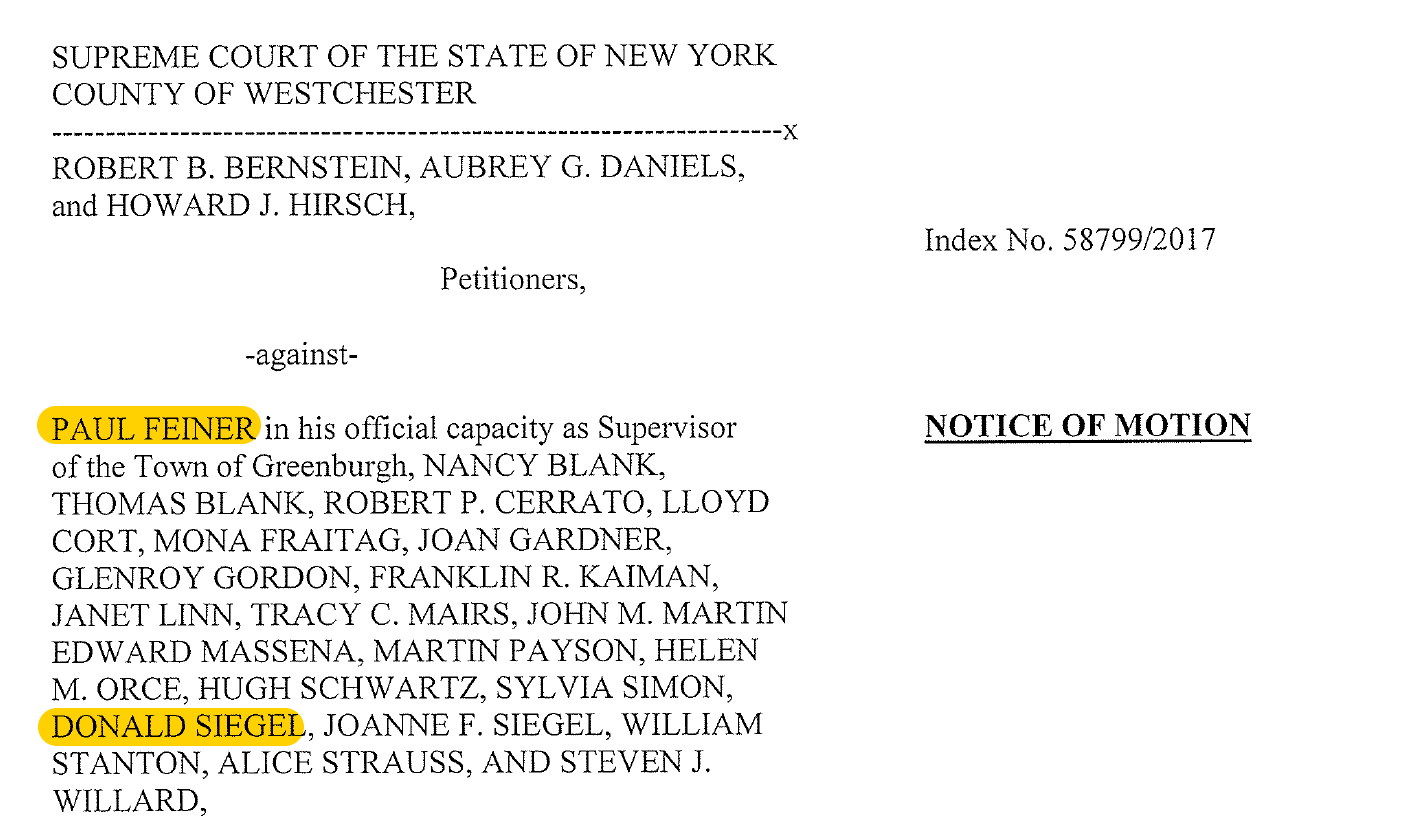Lawsuit over petition where Paul Feiner and his former campaign manager Don Siegel are on the same side.
