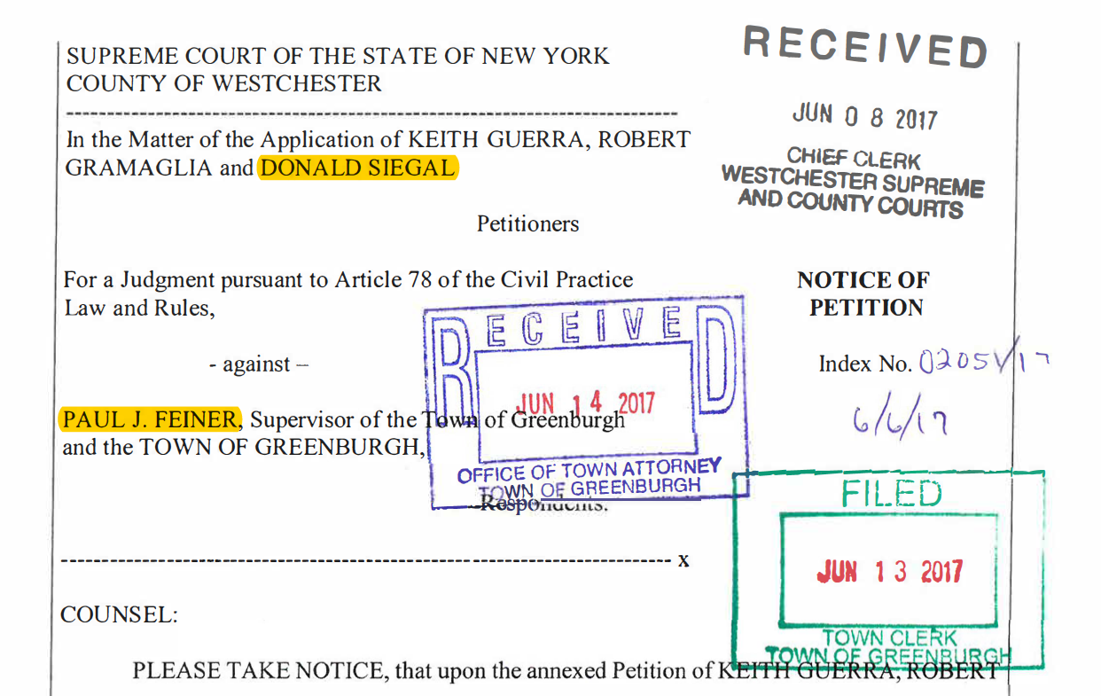Lawsuit over same petition where Paul Feiner and Don Siegel (misspelled on the legal document) are on opposing sides.