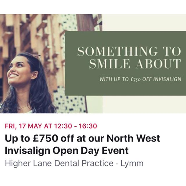 During Smile Month we will be holding an exclusive INVISALIGN OPEN DAY whereby we will be discounting treatments of up to £750 (our biggest discount to date). Invisalign is the market leader in virtually invisible braces, allowing you to achieve the perfect smile as discreetly as possible.  At Higher Lane Dental T/A Creating Beautiful Smiles Ltd, Invisalign provider, Jane Butterworth was one of the first clinicians in the North West to become a part of the Invisalign revolution with over 16 years experience. We also have an iTero scanner on site which means no more nasty impressions and a quicker & more effective treatment and completion time.  Those that go ahead on the day will be eligible for:  A FREE Invisalign Consultation Free dental examination worth £42.50 Up to £750 off their treatment iTero Scanner aka NO MORE IMPRESSIONS FREE Teeth Whitening FREE Bespoke Diamond Polish 0% Finance also available.  For more information or to book your FREE consultation, call 01925752209 or email enquiries@creatingbeautifulsmiles.co.uk  LIMITED SPACES AVAILABLE SO BE QUICK!!! #invisalign #teethstraightening #straightteeth #invisalignoffer #invisalignopenday #invisaligncheshire #clearbraces #dentist #orthodontics #orthodontist #smile #invisalignnorthwest #invisalignuk #dentalpractice #invisalignlymm #invisalignhale #invisalignaltrincham #invisalignknutsford #invisalignmanchester