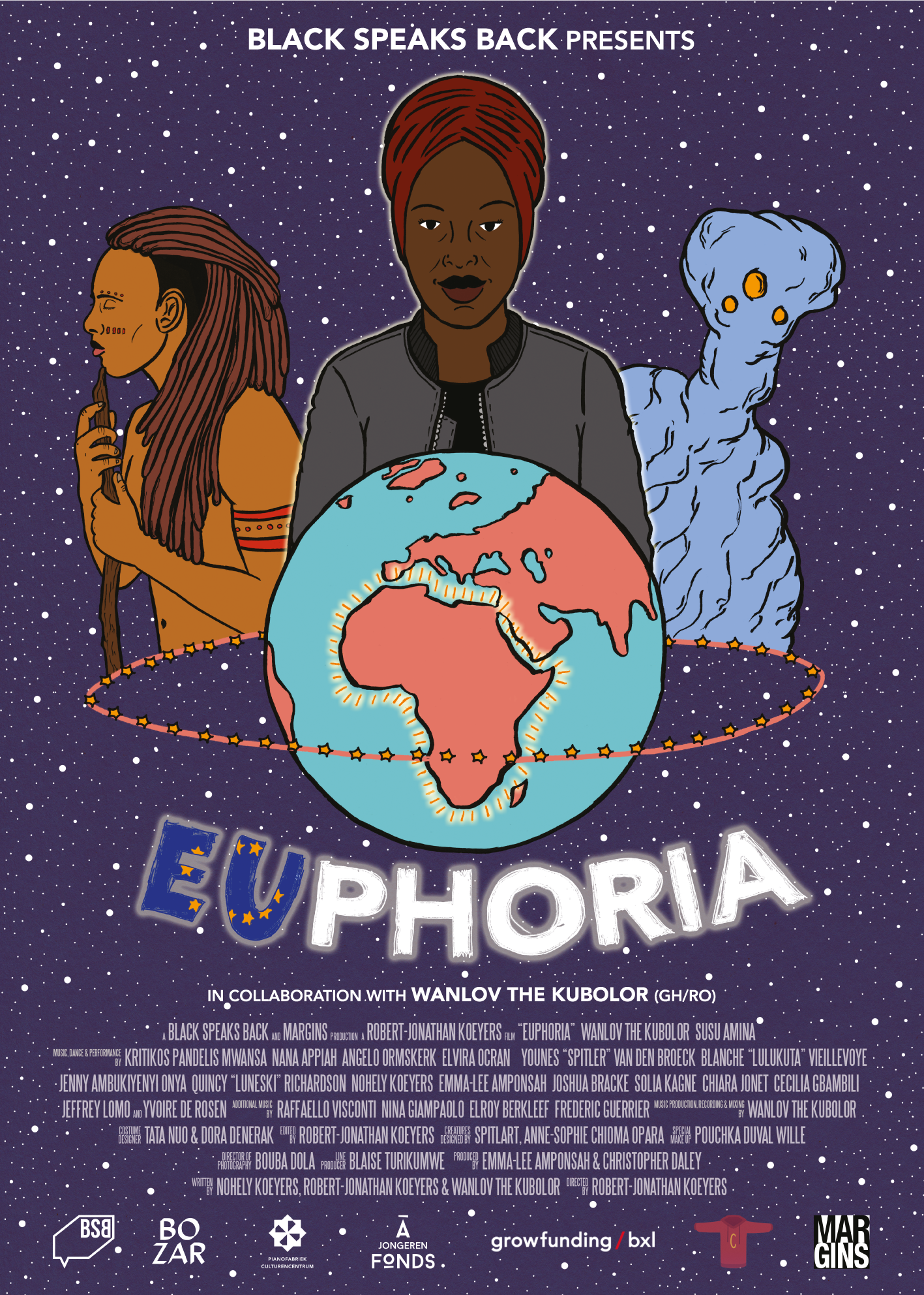 EUPHORIA - BLACK SPEAKS BACK   A mysterious force field appears around the African continent, cutting Europe off from the natural resources and cheap labour it needs to remain prosperous. Meanwhile, the ongoing process of extreme climate change plunges Europe into a new ice age. (2018)