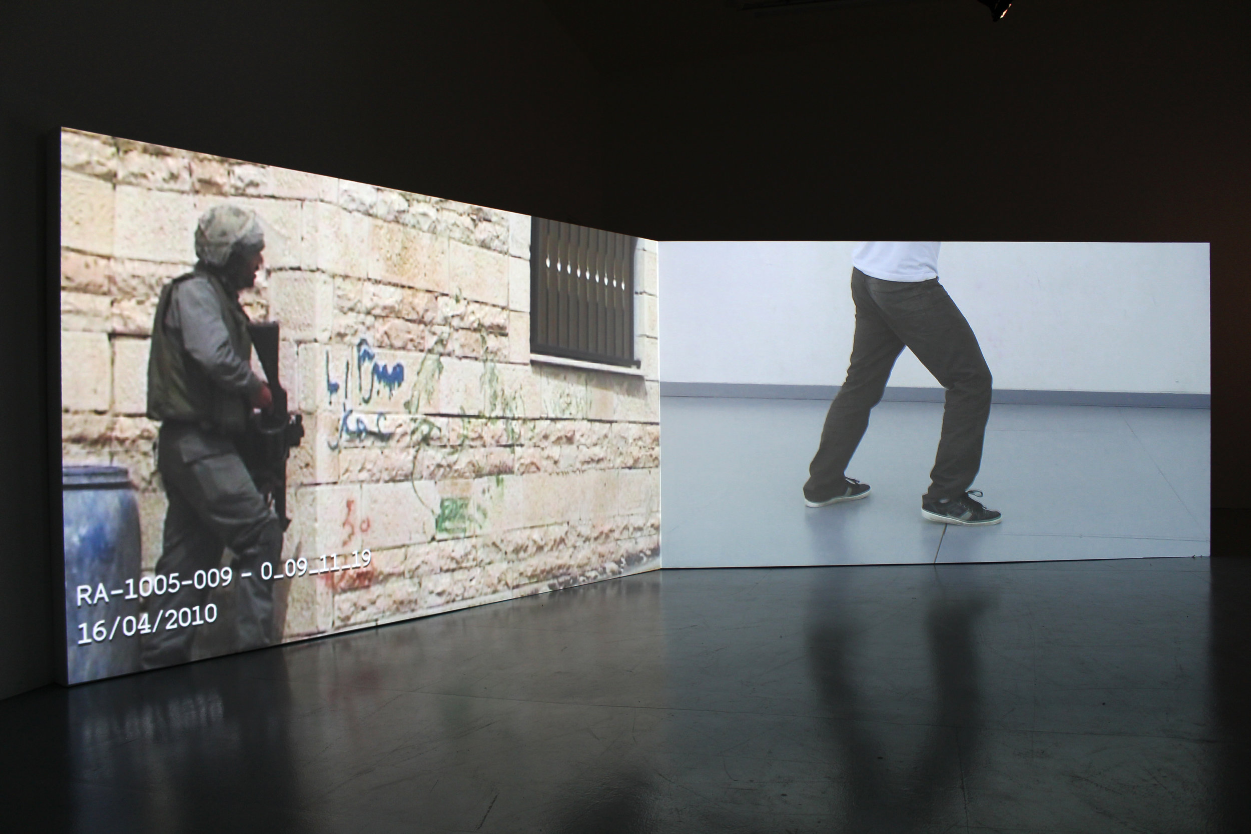 Image of the video installation 'Capture Practice''