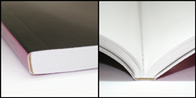 Perfect-Bound - Binding that involves stacking all the pages or signatures together, roughening and flattening the spine edge and attaching the paper cover to the spine with a flexible adhesive.