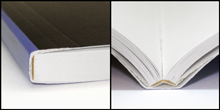 Adhesive BoundLay-Flat - Binding that involves securing loose pages into a solid text block by means of an adhesive rather than by means of sewing or stitching.