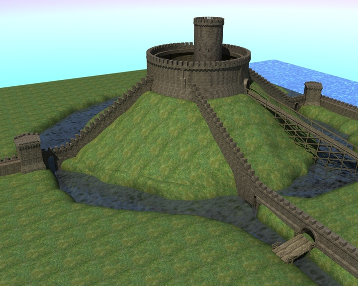 Full reconstruction of the castle mound