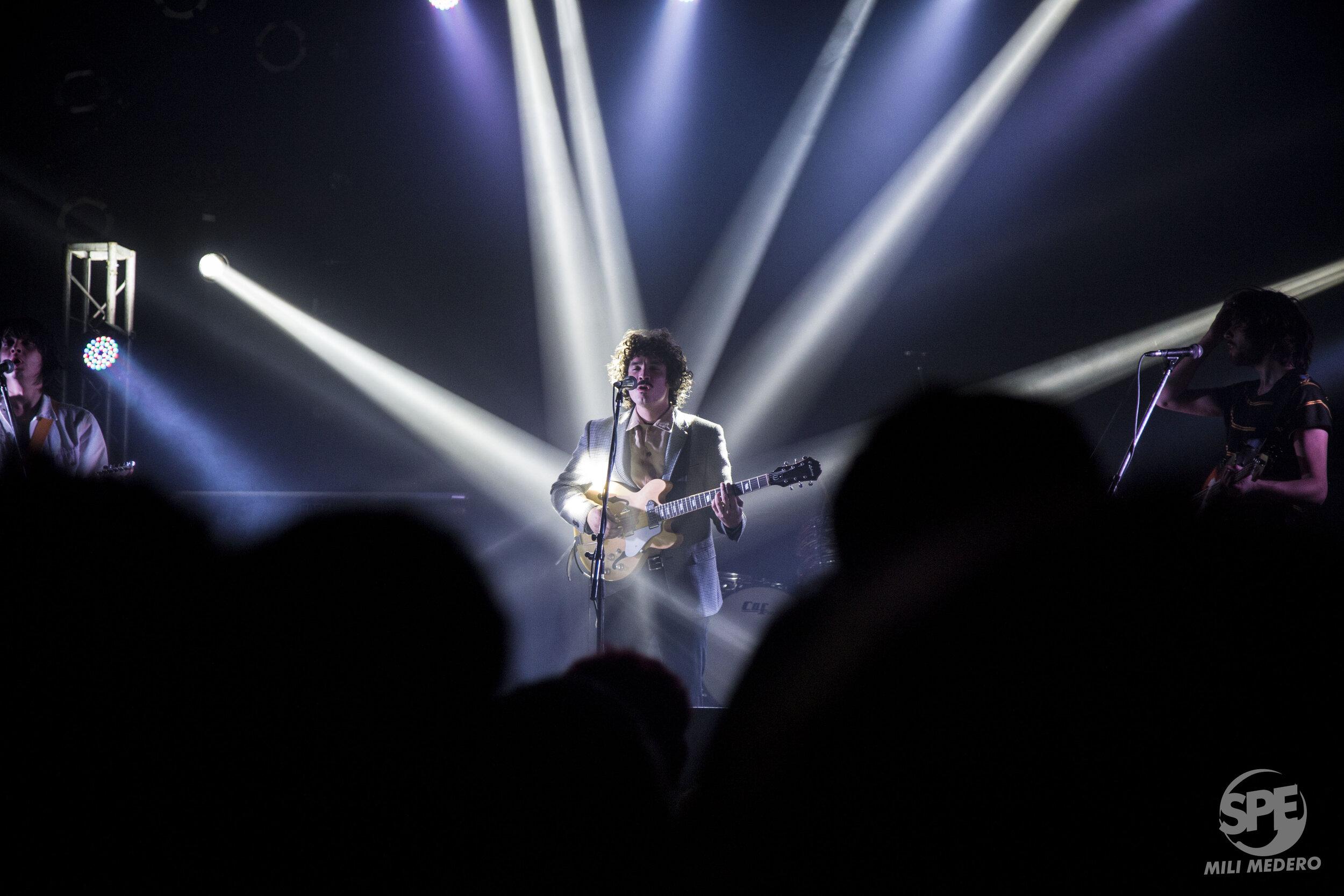 """Integrante de la banda """"Las Sombras"""" durante un show de la misma en Niceto Club(Buenos Aires, Argentina) el dia 3 de Octubre de 2019. Miranda Johansen fue la artista soporte de la noche. Foto de: Milagros Medero"""
