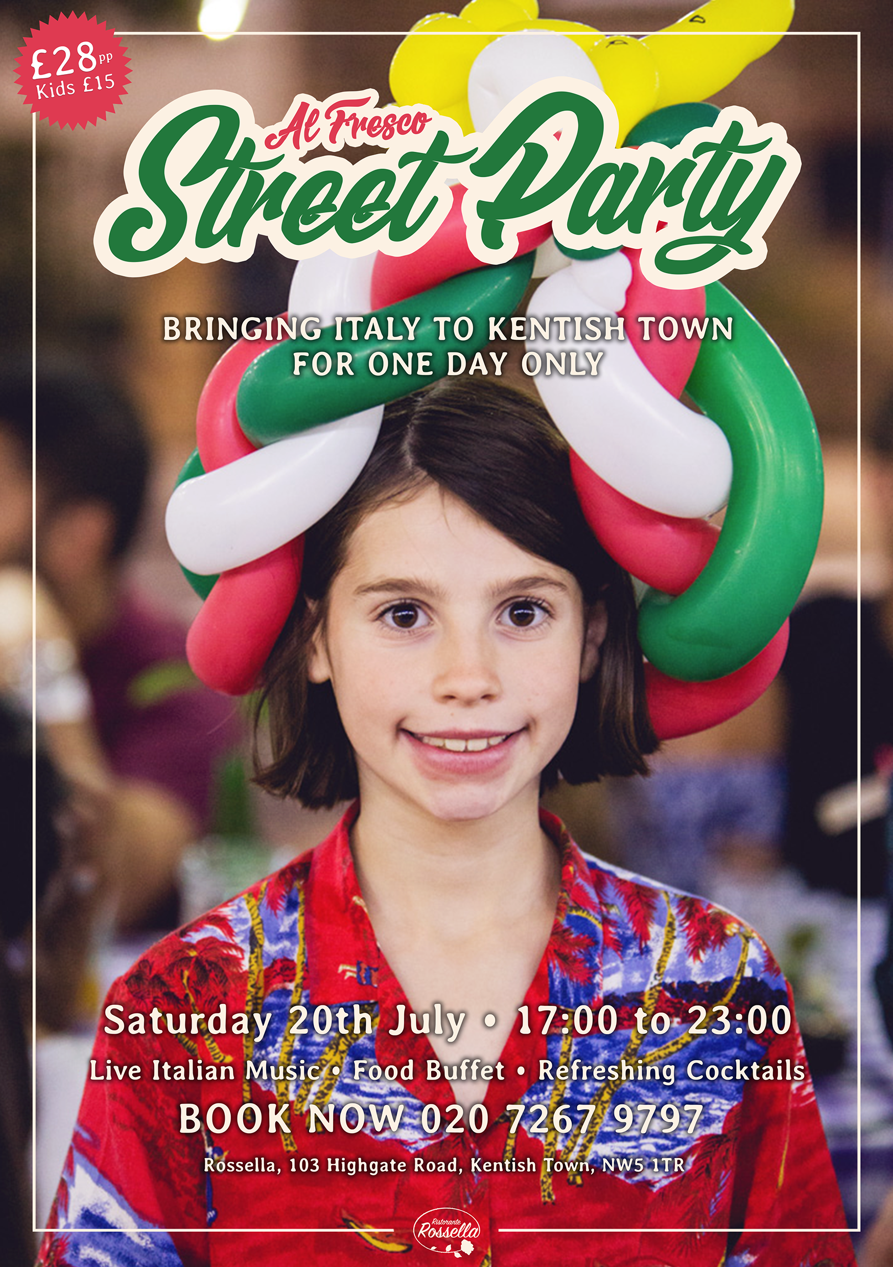 THE AL FRESCO STREET PARTY IS BACK! - On Saturday the 20th July Italy will be spilling out onto the streets of Kentish Town and you're all invited! Come join us for a night of refreshing cocktails, dance to the sounds of live authentic Italian music, and enjoy a delicious buffet of Italian classics. If that wasn't enough, a balloon artist will be joining us to keep the kids (and us adults!) entertained while the sun drops behind the Kentish Town skyline.So come and enjoy all the elements of Italian summer evenings with great company, food and wine. We look forward to seeing you there!Book your table now at contact@rossella.co.uk or call 0207 267 9797.