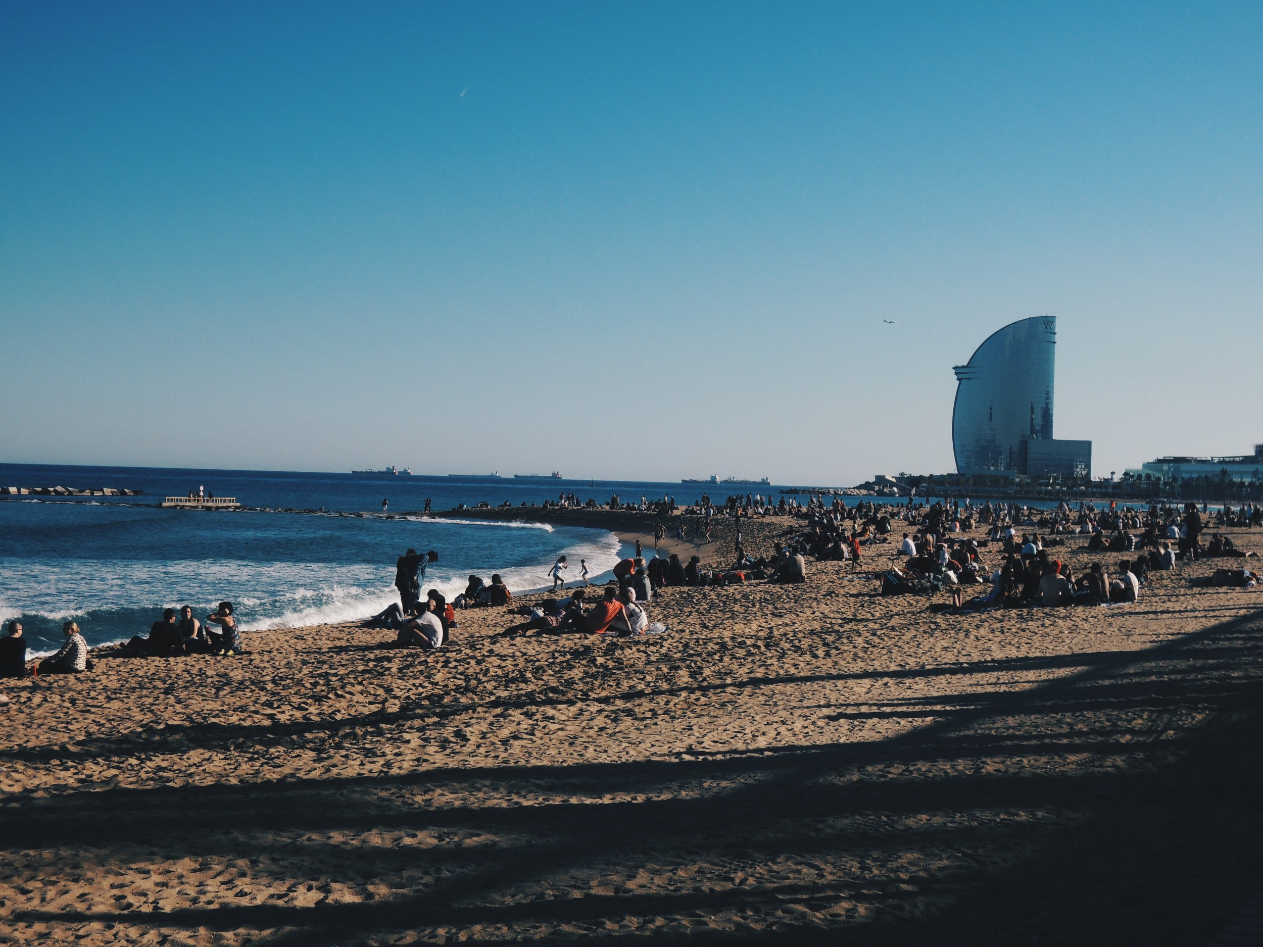 Barcelona's beachfront views at  Barceloneta